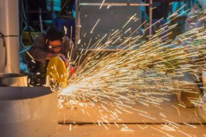Sparks flying from manufacturing plant