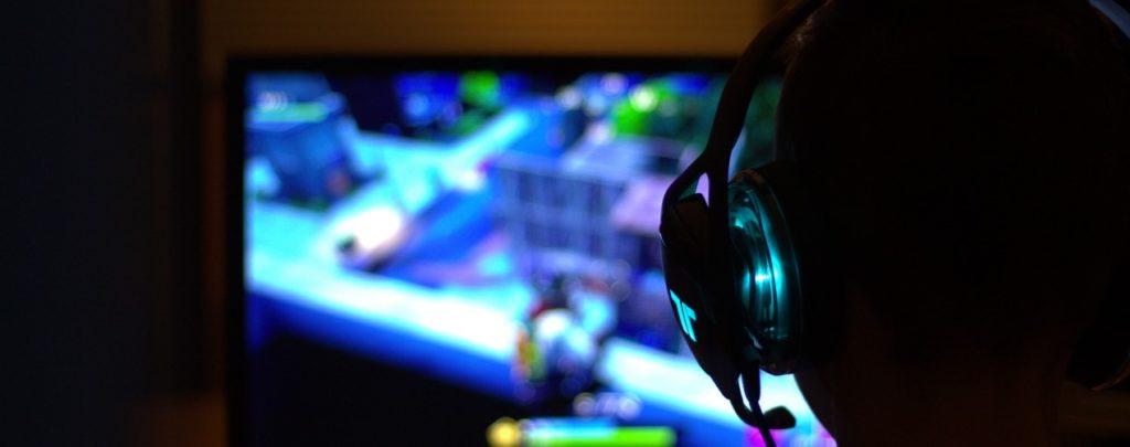 Gamer playing video game
